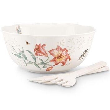 Butterfly Meadow® Salad Bowl & Wooden Servers by Lenox