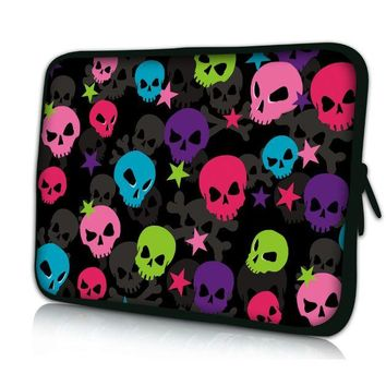 "Colorful Skull 10"" Laptop Bag Case Cover For 10.1"" Asus Transformer Pad TF300 TF300T TF700"
