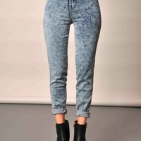 Acid Wash High Waisted Skinny Tube Jeans Blue