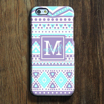 Purple Green Ethnic Monogram iPhone 6s Case iPhone 6 plus Case Custom iPhone 5 Case iPhone 5C Case iPhone 4 Case Galaxy S6 Edge S5 Case 112