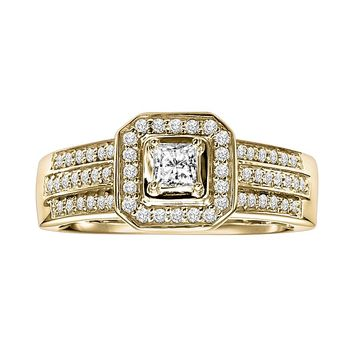 Cherish Always Princess-Cut Diamond Frame Engagement Ring in 10k Gold (1/2 ct. T.W.)