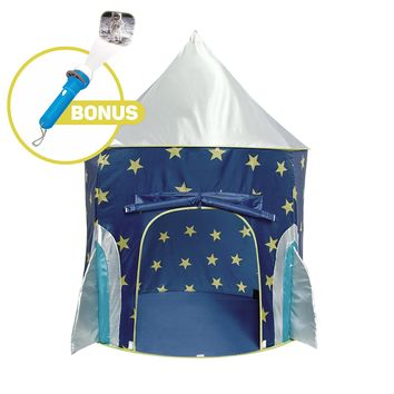 Rocket Ship Play Tent - Spaceship Playhouse with Bonus Space Torch Projector Toy