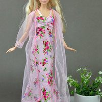 2pcs set Sexy Pajamas Lace Costumes Lingerie Sleepwear Clothes For Barbie Dolls Long Dresses Doll Accessories