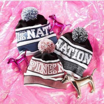 PEAPON Victoria's Secret PINK Knit Hat Bling Beanie - Grey