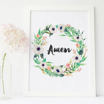 Amen sign wall art, amen print wreath Aquarelle Flowers Floral poster, home decor printable, INSTANT DOWNLOAD 8x10