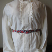 FREE SHIPPING Vintage Shirley of Atlanta (brightens your world) Blouse Shirt Cream Off White