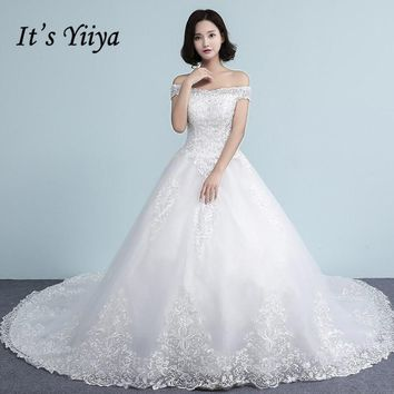 It's YiiYa Off White Sleeveless Boat Neck Hot Bride Dresses Embroidery Simple Pattern Quality Court Train Lace Weddig Gown D311T
