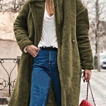 New Army Green Pockets Buttons Turndown Collar Long Sleeve Teddy Coat