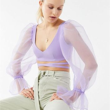 Mesh stitching tops female U-neck umbilical long-sleeved bandage T-shirt female