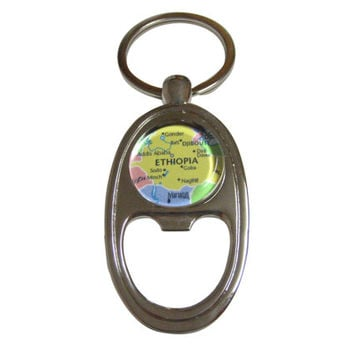 Ethiopia Map Bottle Opener Key Chain