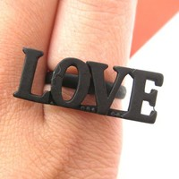 SALE - Adjustable LOVE Letter Ring in Black