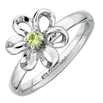 Stackable Expressions™ Polished Three-Dimensional Peridot Flower Ring in Sterling Silver