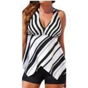 """ASYM"" Women Tankini Sets with Boy Shorts Ladies 2 Piece"