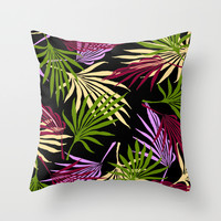 Jungle Black Throw Pillow by ALLY COXON