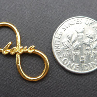 24K Gold Vermeil over 925 Sterling Silver Infinite Love Loop Pendant Charm Connector - 1 pcs - 21x9.5mm, 16g - PC-0062