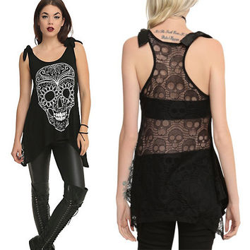 Women 2016 Hot topic Gothic Style Skeleton Printed skull  Lace Back Long Vest  Iron fist XXL 3XL oversize top