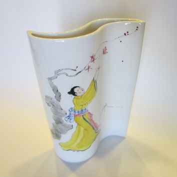 Baatz Ceramics American Signed Abstract Geisha Vase