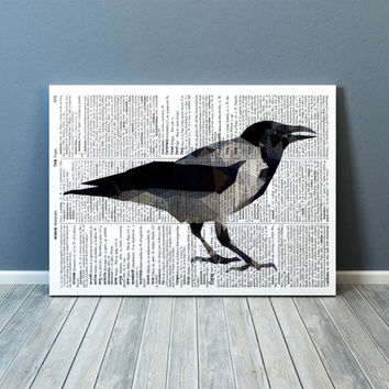 Raven art Wall decor Geometric print Bird poster TOA93-1
