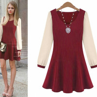 Long Sleeve V-Neck Flounce Mini Dress
