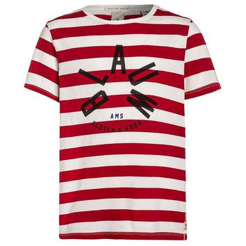 LMFMS9 Scotch & Soda Boys Red and White Striped T-shirt