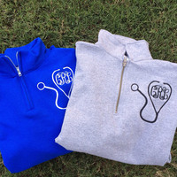 Nurse Stethoscope Monogram Quarter Zip