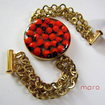Resin Red Seeds Bracelet abrus precatorius by SandstarJewelry