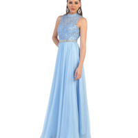 Periwinkle Lace Beaded Bodice Open Back Dress 2015 Prom Dresses