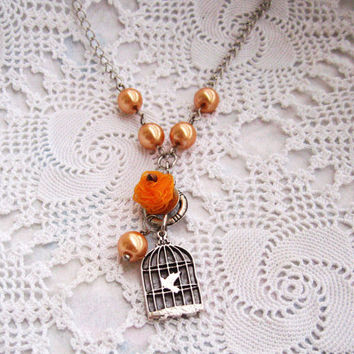 Bird cage Necklace, Bird Cage with Bird, Peach Pearl Necklace,Bridesmaids Gifts, Bridesmaid necklace, Orange Rose, Vintage style,