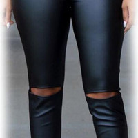 Black PU Holes Elastic Waist Pencil Pants