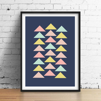 Geometric Art, Nursery Print, Aztec Triangles Poster, Triangles Wall Art, Home Decor, Tribal Print, Geometric Print, Aztec Poster, A3 print