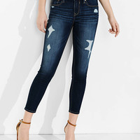 Distressed Dark Wash Mid Rise Cropped Jean Legging from EXPRESS