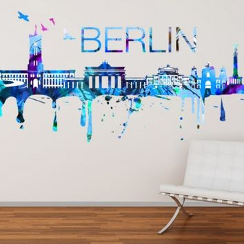 Berlin Skyline Watercolor Sticker