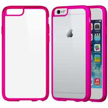 iPhone 6s Plus Case, LUVVITT [ClearView] Hybrid Scratch Resistant Back Cover with Shock Absorbing Bumper for Apple iPhone 6/6s Plus - Transparent Pink