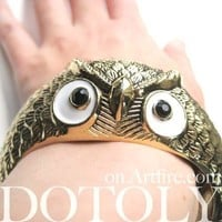 Owl Bird Animal Bangle Bracelet in Brass | Animal Jewelry