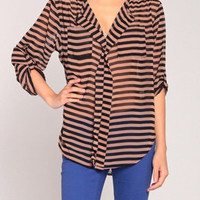 Dirtroad Oversized Blouse in Brown/Black
