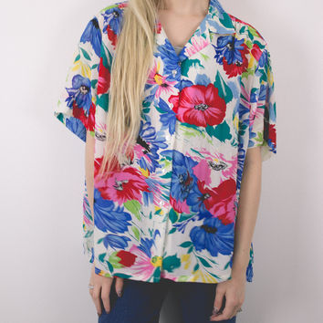 Vintage 80s Hawaiian Tropical Floral Blouse