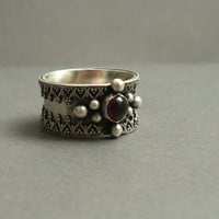 Sterling Silver Garnet Ring Victorian Renaissance  by JaneFont