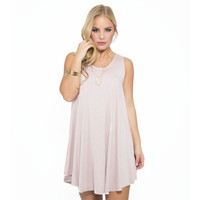 Stop The World Jersey Shift Dress In Pink