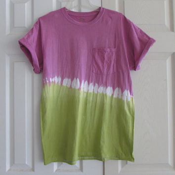 Bright and Causal Lime Green and Bubblegum Pink Dip Dyed Tee Shirt