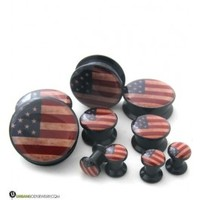 "USA Flag Plugs Single Flare (2 Gauge - 3/4"") 