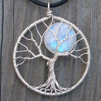 Recycled Silver and Rainbow Moonstone Full Moon Tree Pendant - Original Design by Ethora