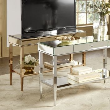 Camille Glam Mirrored TV Stand Console Table with Drawer by INSPIRE Q | Overstock.com Shopping - The Best Deals on Coffee, Sofa & End Tables
