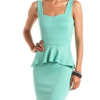 Sweetheart Ponte Peplum Dress: Charlotte Russe