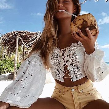 3ee3232294a Lace Sexy Blouse Off Shoulder Beach Crop Top Hollow Out Female B