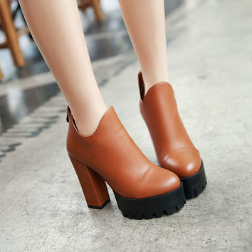 Ankle Boots Chunky Heel Pumps Women Shoes Fall|Winter 8331