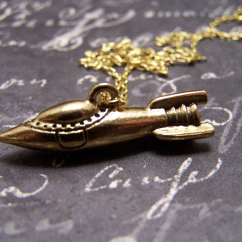 Space Cadet Necklace in Antique Brass