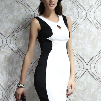 Sleeveless Back and Front Cut out Medi Dress with Black & White Patchwork