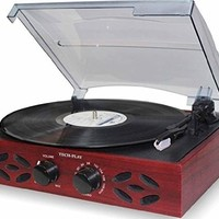 TechPlay ODC15 3 Speed Wooden Retro Classic Turntable with FM Radio, Headphone Jack and Built in Speakers, wood turtable