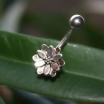 Belly Button  lotus flower  barbell Jewelry  Navel Piercing  Bar Barbell