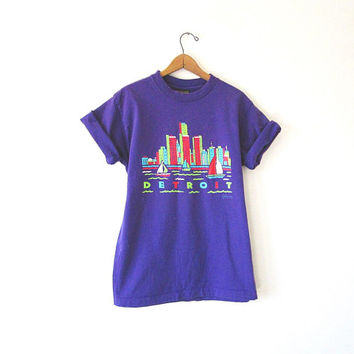 Vintage '95 DETROIT MICHIGAN Souvenir Tourist City SAILBOAT 100% Cotton T Shirt Sz Large